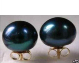 Wholesale Earrings Pearl 14 - new huge AAA + + + 9-10mm South Seas black pearl earrings with 14 k