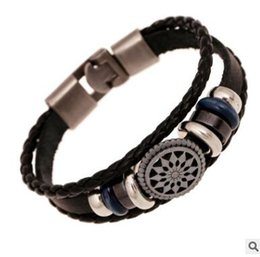 Wholesale Vintage Tin Cans - New men's cowhide bracelet with a vintage weave leather bracelet two colors can choose shipping free