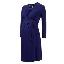 Wholesale Pregnancy Plus - Super Elastic Fancy Maternity Dress Clothes Pregnancy Clothing for Pregnant Women Plus Size Maternidade Office Vestidos+Sashes