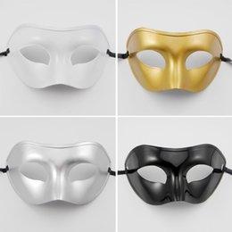 Wholesale mens half masks - 20PCS Masquerade Mens Masks Halloween Christmas Masquerade Masks Venetian Dance party Mask Men mask 4 colors