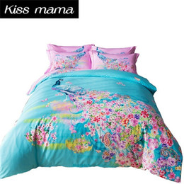 Wholesale King Size Peacock Print Bedding - 3D Cotton Bedding Set King Size Duvet Cover Set With Bed Sheet Double Single Bed set Luxury bedding 4PCS Bedclothes Peacock