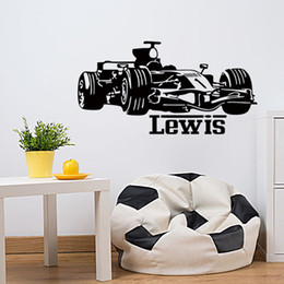 Wholesale Classic Car Home Decor - Boy Racing Car Vinyl Wall Sticker Home Decor Personalized Baby Names Wall Stickers For Boys Rooms