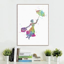 Wholesale Pictures Mary - Modern Watercolor Mary Poppins A4 Art Print Poster Pop Fantasy Movie Flying Wall Picture Canvas Kids Room Deco Painting No Frame