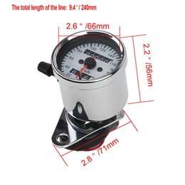 Wholesale Chrome Speed - Chrome Shell White Dial Universal Motorcycle Speedometer Odometer Gauge Backlight Dual Speed Meter With LED Indicator Motocross
