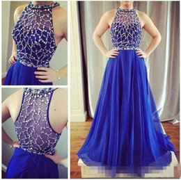 Wholesale Shiny Short Club - Shiny Beaded Evening Dresses 2017 Royal Blue Chiffon A Line Illusion Top Formal Pageant Prom Party Gown Custom Made