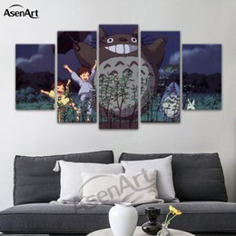 Wholesale Cartoon Princess Picture - Princess Mononoke and Wolf with Blue Eyes in Blood Forest 5 Panels Canvas Print Room Decor Wall Art for Living Room Framed Dropshipping