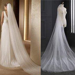Wholesale Soft White Long Bridal Veils - 3m Wedding Veil 3 Meters Long Soft Bridal Head With Comb Two-layer Tulle Veil Ivory White Color Bride Wedding Accessories 2017