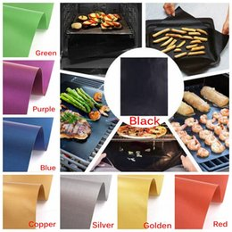 Wholesale Brass Machines - Brass Grill Mat Non-Stick High Temperature Outdoor Barbecue Copper Gold Chef Silicone Grill Mat No Stick Grill Mat 5pcs lot CCA6398 50lot