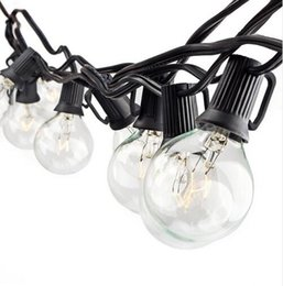 Wholesale white bulb outdoor string lights - 25ft G40 globe string lights fairy bulb light with 25 clear bulbs UL listed indoor & outdoor light garden party wedding decoration