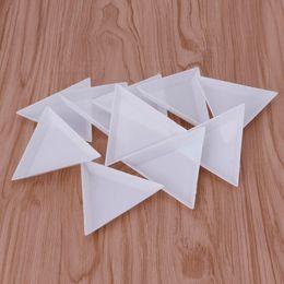 Wholesale Triangle Nail Art - 10Pcs Plastic Triangle Rhinestones Beads Crystal Nail Art Sorting Trays White