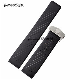 Wholesale Rubber Strap Holes - JAWODER Watchband 22mm 24mm Stainless Steel Deployment Black Diving Silicone Rubber Holes Watch Band Strap for T-A-G WATCH
