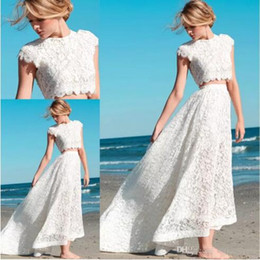 Wholesale Top Short Beach Wedding Dresses - 2017 Sexy Two Pieces Bohemian Wedding Dresses Lace Crop Top Vintage High Low Boho Beach Bridal Gowns Custom Made BA3000