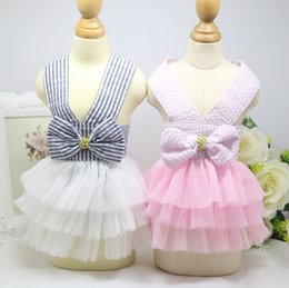 Wholesale Xs Pet Wedding Dress - Free Shipping 2017 High Qaulity Summer New Fashion Dog Stripe condole belt skirt Pet Net yarn skirt Pet clothes XS-XL Cute Dot Puppy Clothes
