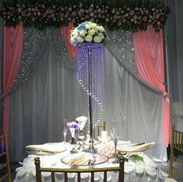 Wholesale Hurricane Lamp Oil - Rotating crystal beads hanging flower road lead wedding Centerpiece 90cm Tall 20cm Diameter S shape design