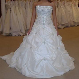 Wholesale Cheap Taffeta - 2017 New Stock Crystal Strapless Ball Gown Wedding Dresses with Appliques Beaded Cheap Plus Size Bridal Gowns BM67