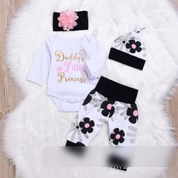 Wholesale Wholesale Tutus For Little Girls - Daddy's Little Princess Outfits Sets Baby Girls Rompers Flower Floral Print Headband + Pants + Romper + Caps 4piece Set For Girl Set A7986