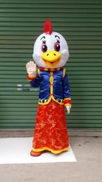 Wholesale Chicken Mascot Costumes - Cheongsam Chicken New Year cartoon dolls mascot costumes props costumes Halloween free shipping