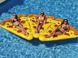 Wholesale Inflatable Water Beds - Inflatable Pizza Water Toy Giant Yellow Slice Floating Bed Raft Air Mattress 180*150 CM Summer Holiday Swmming Ring DHL Free Shipping