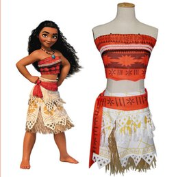 Wholesale Skirt Pieces Suit - moana dress cosplay clothTwo piece suit kids movie Moana princess dress cosplay costume skirt christmas party Not including hair XT