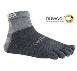 Wholesale Wholesale Lycra Socks - NuWool Toe Running Socks,Injinji 2.0 Low Weight Micro NuWool Socks Grey Black toe socks, Size L, 65% Nuwool, 30% Nylon,5% Lycra