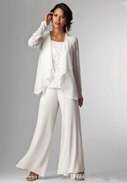 Wholesale Groom Trousers - White Chiffon Mother Of Bride Pants Suits Lady Mother Groom Pants With Jacket Women Formal Trouser Suits