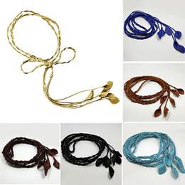 Wholesale Cinch Wrap - Wholesale- Women's Slim Leaves Weave Faux Leather Self Tie Wrap Waist Band Cinch Belt