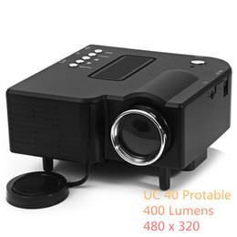 2019 sintonizador hdmi lcd tv Al por mayor-UC-40 Mini Proyector LED de alta definición 400 lúmenes Soporte AV / SD / VGA / HDMI Pico Proyector portátil Home Cinema Proyector
