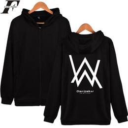 Wholesale Hoodie Zip Mens - Wholesale- LUCKYFRIDAYF Alan Walker DJ Hooded Sweatshirt Winter Mens Hoodies And Sweatshirts Zip Plus Jacket Cotton Coat Fashion Hoodie