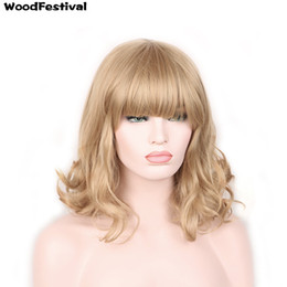 Wholesale Curly Short Wig Blond - WoodFestival women short blonde fluffy fiber hair wigs heat resistant synthetic fiber wig black light brown dark brown blond 4 colors