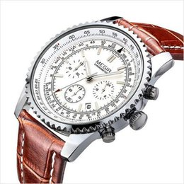 Wholesale luminous watches for men - Top Brand Mens Watches High-Grade Quartz Luxury Watch With Leather Strap Bussiness Wristwatch Chronograph Famous Brand AAA Watches For Men