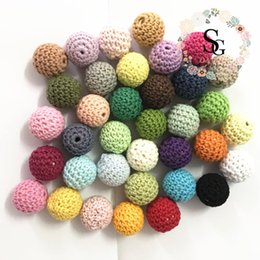Wholesale Bead Jewellery Making - 50 PCS Elegant 20mm Crochet Beads 36 Color Available For Choose Knitted By Cotton Thread DIY Jewellery Making,Crochet Ball Beads