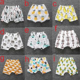 Wholesale embroidered leggings - 16 colors Ins New Baby toddler boys girls ins pants Leggings Bee Panda Zoo embroidered Sabrina pant Cropped Trousers boys Harem Shorts