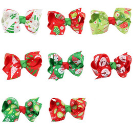 Wholesale Leather Supplies China - Free shipping Children Christmas Hairpin Christmas Ornaments Halloween Supplies Colorful Ribbon Hairpin FJ102 mix order 60 pieces a lot