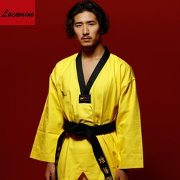 Wholesale Yellow Martial Arts Uniform - 9c Multicolour canvas standard training adult tae kwon do long-sleeve taekwondo clothes WTF kids Taekwondo training uniforms size 110-190cm