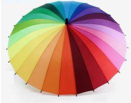 Wholesale Rainbow Umbrellas - Rainbow Umbrella Big Long Handle Straight Colorful Umbrella Male Female Sunny And Rainy Umbrella