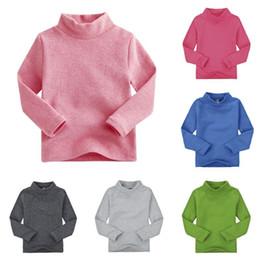Baby boy t shirts cuello alto online-Camiseta de manga larga de algodón para niños de invierno para bebés, niños y niñas Camiseta de manga larga con cuello alto y camisa de tocar fondo
