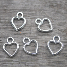 Wholesale tear drop jewelry - 50pcs--Heart charms, Antique Tibetan silver heart charm Pendants, Hearts Tear Drop, Jewelry Making 11x8mm