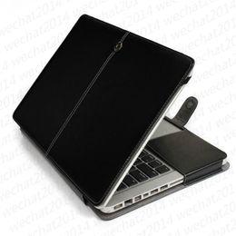 capa de couro apple macbook pro Desconto 100 pcs pu leather à prova de choque folio book case capa case para apple macbook air pro 11 '' 12 '' 13