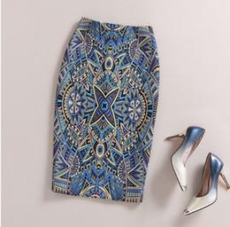 Wholesale Tight Satin Woman - Women Skirt Elegant Baroque Style Geometric Pattern Print High Waist Tight Pencil Skirt Work Office Lady Plus Size Elastic Skirt