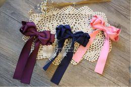 Wholesale Diy Ribbon Bow Hair Clip - Children Hair Accessories high quality Girls Ribbon bows princess hairpin for kids hair clips Bow with Hair clips Kids DIY Accessories T0903