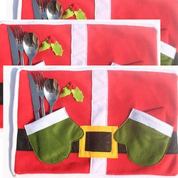 Wholesale Round Dinner Tables - Wholesale- 2017 Creative Christmas Santa Placemat Table Runner Mat Cutlery Holder Dinner Xmas Party Decor