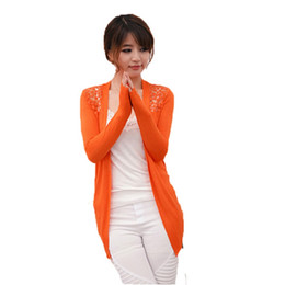 Wholesale Summer Korean Blouse Long Sleeve - Wholesale-2016 New Lady Korean Style Candy Color Crochet Knit Top Coat Sweater Cardigan Summer Crochet Blouse Retail Wholesale