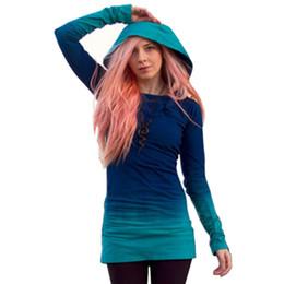 Túnica con capucha online-Al por mayor-Otoño Mujeres Sudadera con capucha Jersey de manga larga con capucha Jumper Túnica sudadera Tops