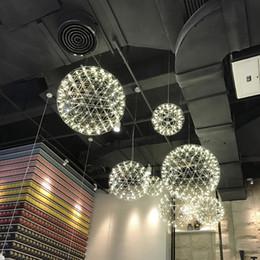 Wholesale Ball Bedroom Lights - modern living room pendant light stainless steel ball led firework light restaurant villa hotel project lighting