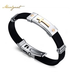 Wholesale Jewelry Design Cross For Man - Meaeguet Cross Bracelet For Men Women Black Silicone Bracelets Stainless Steel Spring Clasp Jewelry Simple Design