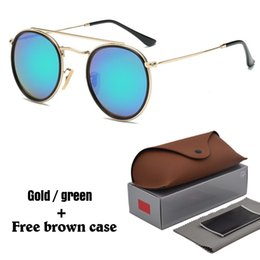 Wholesale Case Coat - High quality Round Sunglasses for Men women Driving sun glasses Reflective Coating uv400 Eyewear Oculos gafas de sol with free box and cases