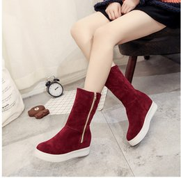 Wholesale Two Way Zippers - The increase in warm fashion side zipper and belt buckle two way of wearing boot winter snew shoes. WH25