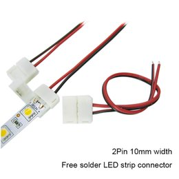 Wholesale Welding Wiring - LED Strip Connector 2pin 10mm   2pin 8mm with Wire Free Welding Connector for 5050 3528 3014 2835 LED Strip Light