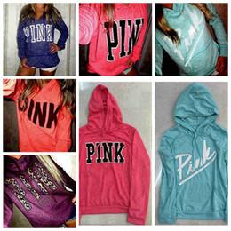 Wholesale Outerwear Women Pink - Pink Hoodie VS Pink Jacket Women Pink Letter Sweatshirts Shirt Coat Print Cheetah Tops Pullover Hoodies Long Sleeve Outerwear 1pcs AP01m