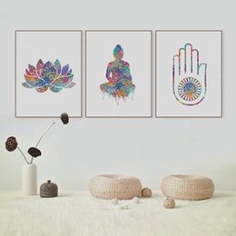 Wholesale Buddha Wall Panel - Modern Abstract Watercolor Buddha Zen Lotus Poster A4 Big Peace Wall Art Picture Nordic Home Decor Canvas Painting No Frame Gift